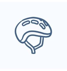 Bicycle helmet sketch icon vector