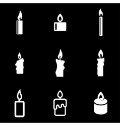 White candles icon set vector