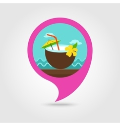 Coconut drink with straw pin map icon vacation vector