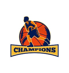 Basketball player dribbling ball champions retro vector