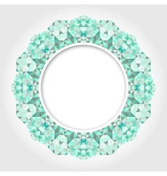 Abstract White Round Frame with Emerald Digital vector image vector image