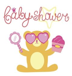 Baby shower for girl composition with bear vector