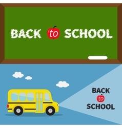 Back to school banner set yellow school bus vector