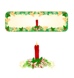 Banner christmas spruce with a red candlestick vector