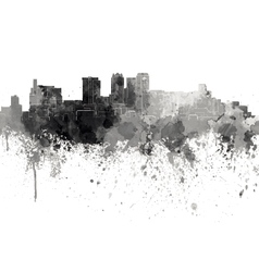 Birmingham al skyline in black watercolor on white vector