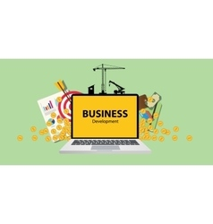 Business development concept with laptop money and vector