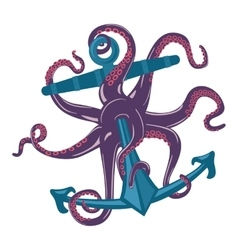Cartoon blue octopus with tentacles and suction vector