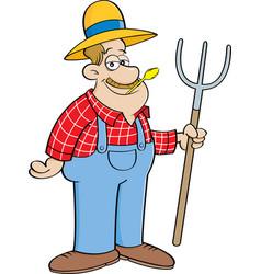 Cartoon farmer holding a pitchfork vector