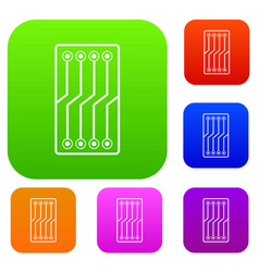 circuit board set color collection vector image vector image