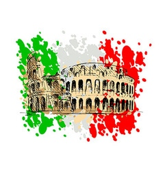Colored sketch of the roman colosseum vector