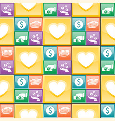 colorful website donate buttons seamless pattern vector image