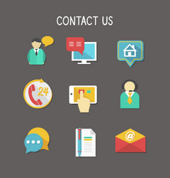 Contact Us Icons vector image vector image