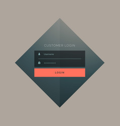 Customer login form design with username and vector