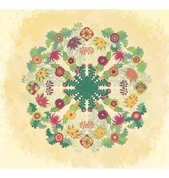 Decorative floral ornament on grunge background vector image vector image