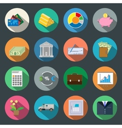 Finance flat icons set vector image