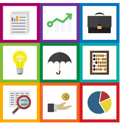 Flat icon incoming set of graph growth parasol vector