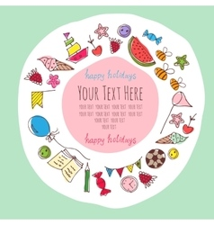 Frame for text with baby items vector