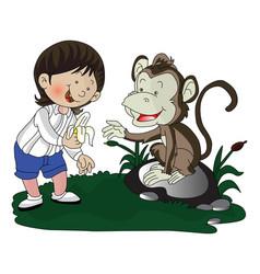 Girl giving banana to monkey vector