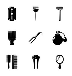 Hairdresser tools icons set simple style vector