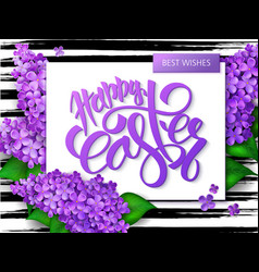 Hand lettering happy easter greetings text vector