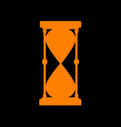 Hourglass sign orange icon on black vector
