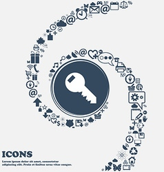 Key sign icon unlock tool symbol in the center vector