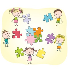 Kids playing with puzzle vector image