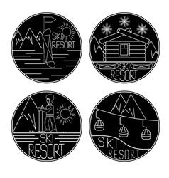 Line craft vintage labels of ski resort vector