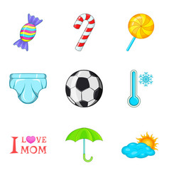 Puberty icons set cartoon style vector