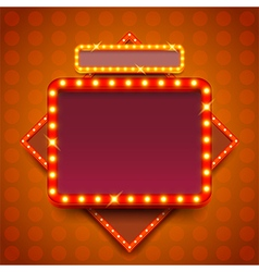 Retro poster with neon lights square board vector image vector image