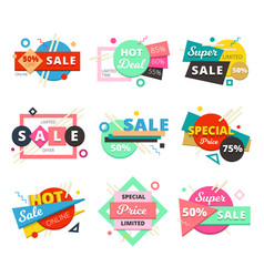 sale material design geometric icon set vector image vector image