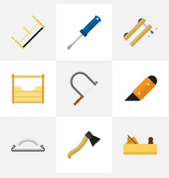 Set of 9 editable instrument flat icons includes vector
