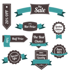 set of retro labels and banners vector image vector image