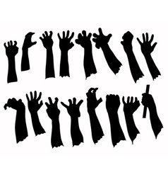Silhouette set of hands in many gesture vector image