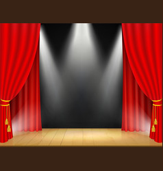 theater stage with spotlights and red curtain vector image