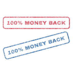 100 percent money back textile stamps vector