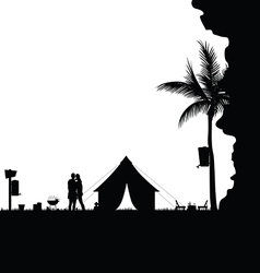 Camping in nature behind the cliff couple vector