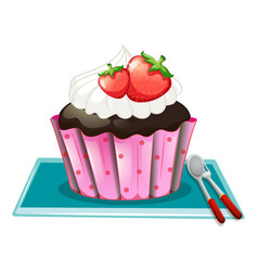 Cupcake with cream and strawberries vector
