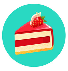 Piece of birthday cheesecake with jelly decorated vector