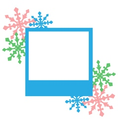 Blue photo frame with snowflakes isolated on white vector