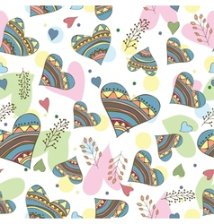 Seamless pattern of drawing doodle hearts vector
