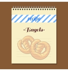 Recipe book bagels vector