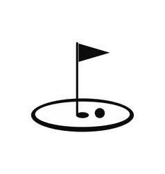 Golf flag black simple icon vector image