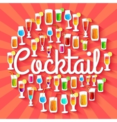 Colorful cocktail drink circle infographics vector