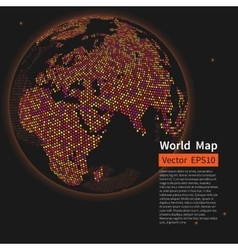 Dotted world map background night earth globe vector