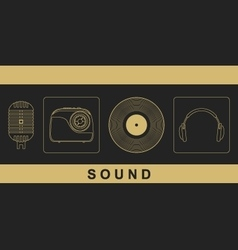 Microphone radio vinyl disc headphones vector