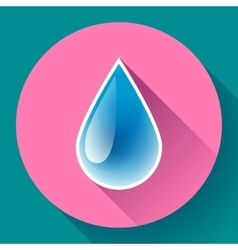 Blue shiny water drop icon flat design style vector