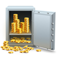 Safe full of gold coins money vector