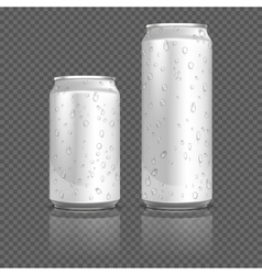 Realistic aluminum cans with water drops stock vector
