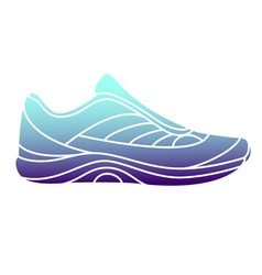 Blue gradient glowing sneaker on white background vector